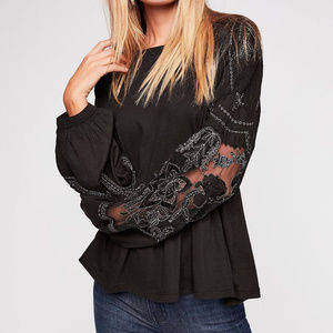 NWT free People Embroidered Penny Tee top blouse